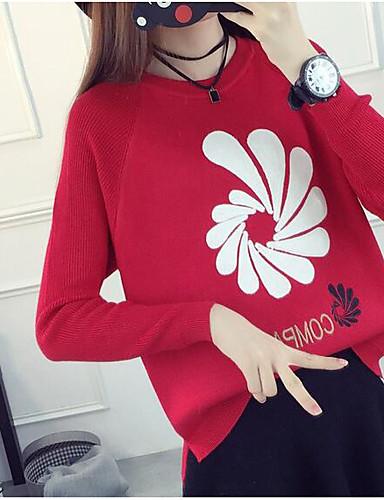 Damen Standard Pullover-Lässig/Alltäglich Druck Rundhalsausschnitt Langarm Baumwolle Herbst Mittel Mikro-elastisch
