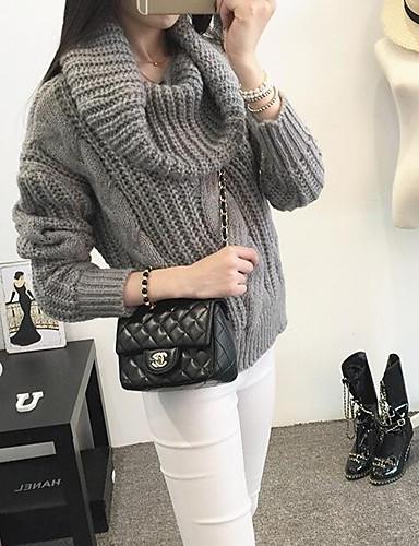 Damen Standard Pullover-Lässig/Alltäglich Einfach Solide Peter Pan-Kragen Langarm Baumwolle Herbst Winter Mittel Mikro-elastisch