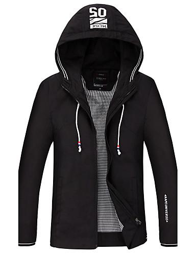 Herrn Solide Einfach Freizeit Alltag Jacke,Mit Kapuze Winter Herbst Langärmelige Standard Polyester