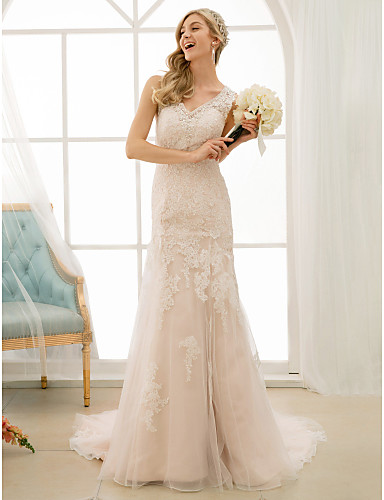 Mermaid / Trumpet V Neck Court Train Lace / Tulle Made-To-Measure Wedding Dresses with Beading / Appliques / Buttons by LAN TING BRIDE®