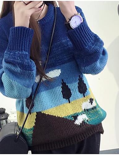Damen Standard Pullover-Lässig/Alltäglich Druck Einfarbig Rundhalsausschnitt Langarm Kaninchen-Pelz Baumwolle Leinen Herbst Mittel