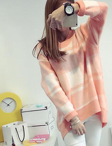 Damen Lang Pullover-Lässig/Alltäglich Verziert Rundhalsausschnitt Langarm Baumwolle Leinen Herbst Mittel Mikro-elastisch