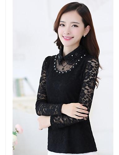 Damen Solide Anspruchsvoll Lässig/Alltäglich Hemd,U-Ausschnitt Langarm Polyester