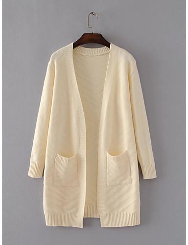 Damen Lang Strickjacke-Ausgehen Lässig/Alltäglich Einfach Solide V-Ausschnitt Langarm Baumwolle Polyester Frühling Herbst Dünn Mittel