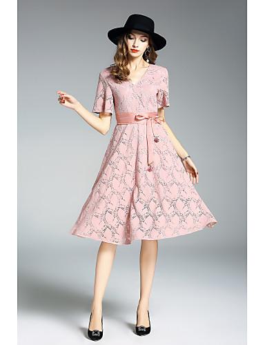 Damen Hülle Kleid Solide Einfarbig Stickerei Knielang V-Ausschnitt