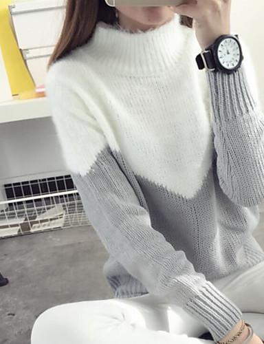 Damen Standard Pullover-Lässig/Alltäglich Geometrisch Rundhalsausschnitt Langarm Baumwolle Leinen Herbst Mittel Mikro-elastisch