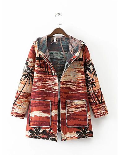 Damen Druck Einfarbig Street Schick Ausgehen Lässig/Alltäglich Trench Coat,Mit Kapuze Winter Herbst Langärmelige Standard Baumwolle Andere