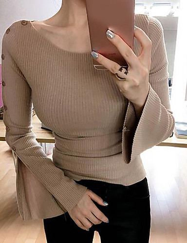 Damen Solide Einfach Ausgehen T-shirt,V-Ausschnitt Langarm Baumwolle