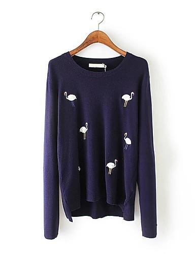 Damen Standard Pullover-Ausgehen Lässig/Alltäglich Einfach Solide Punkt Rundhalsausschnitt Langarm Kunstseide Polyester Nylon Frühling