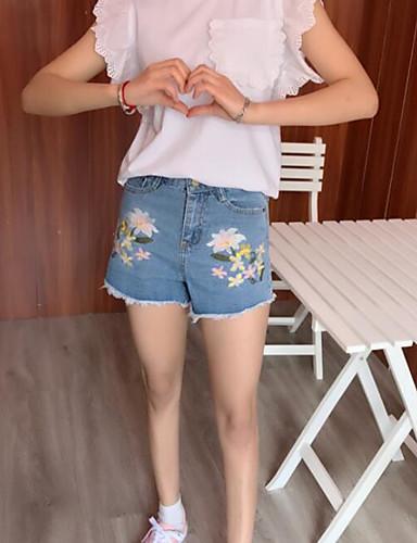 Damen Niedlich Mittlere Hüfthöhe Mikro-elastisch Jeans Kurze Hosen Gerade Hose Blumen