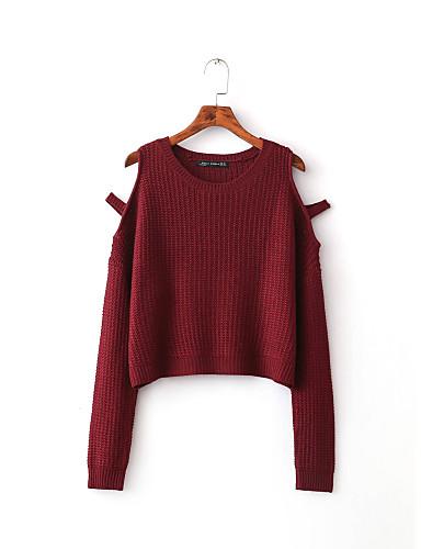 Damen Standard Pullover-Ausgehen Lässig/Alltäglich Einfach Niedlich Solide Schulterfrei Langarm Baumwolle Andere Frühling Herbst Dünn