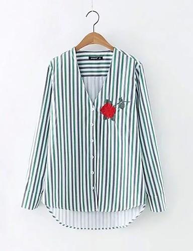 Damen Gestreift Stickerei Einfach Niedlich Street Schick Ausgehen Lässig/Alltäglich Hemd,V-Ausschnitt Frühling Herbst Langarm Baumwolle