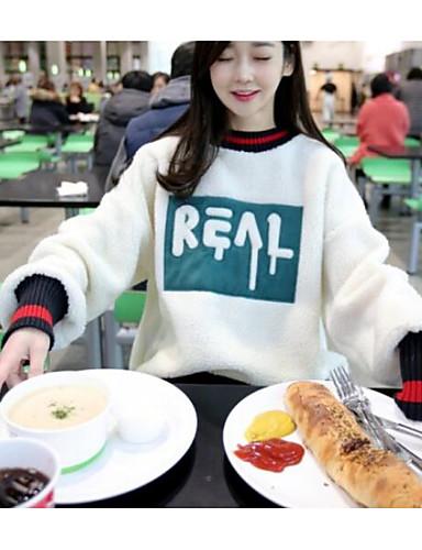 Damen Pullover Sport Lässig/Alltäglich Ausgehen Einfach Aktiv Boho Solide Rundhalsausschnitt Fleece-Futter Mikro-elastischBaumwolle