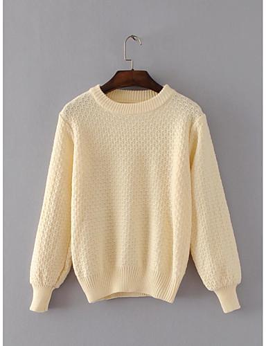 Damen Standard Pullover-Ausgehen Lässig/Alltäglich Einfach Solide Rundhalsausschnitt Langarm Baumwolle Polyester Frühling Herbst Dünn