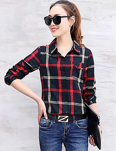 Damen Geometrisch / Einfarbig - Einfach Baumwolle Hemd, Hemdkragen