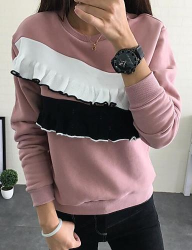 Damen Kapuzenshirt Lässig/Alltäglich Einfach Einfarbig Rundhalsausschnitt Mikro-elastisch Baumwolle Polyester Lange Ärmel Frühling Herbst