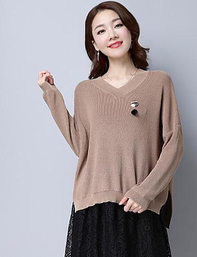 Damen Standard Pullover-Lässig/Alltäglich Solide Gestreift V-Ausschnitt Langarm Wolle Andere Herbst Winter Mittel Mikro-elastisch