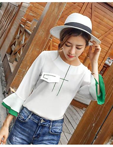 Damen Solide Einfach Lässig/Alltäglich Bluse,Rundhalsausschnitt Langarm Polyester