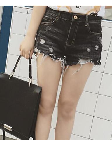 Damen Einfach Mittlere Hüfthöhe Mikro-elastisch Jeans Kurze Hosen Schlank Hose Solide