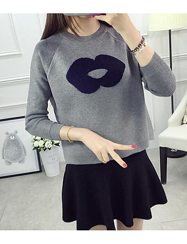 Damen Kurz Pullover-Lässig/Alltäglich Druck Rundhalsausschnitt Langarm Polyester Frühling Herbst Dünn Mikro-elastisch