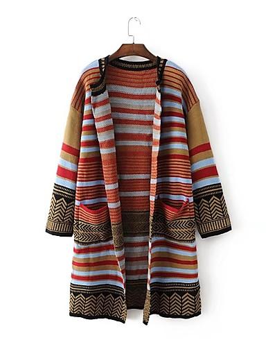 Damen Lang Strickjacke-Ausgehen Lässig/Alltäglich Einfach Druck V-Ausschnitt Langarm Baumwolle Winter Herbst Dünn Mittel Mikro-elastisch