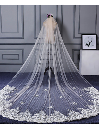 Einschichtig Spitzen-Saum Hochzeitsschleier Kathedralen Schleier Mit Applikationen / Verstreute Perlen mit Blumen Spitze / Tüll / Klassisch