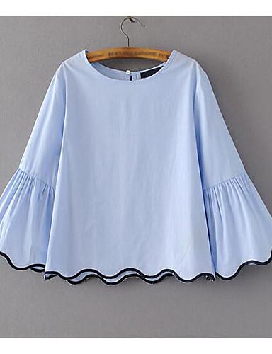 Damen Solide Einfach Lässig/Alltäglich Hemd,Rundhalsausschnitt Langarm Baumwolle