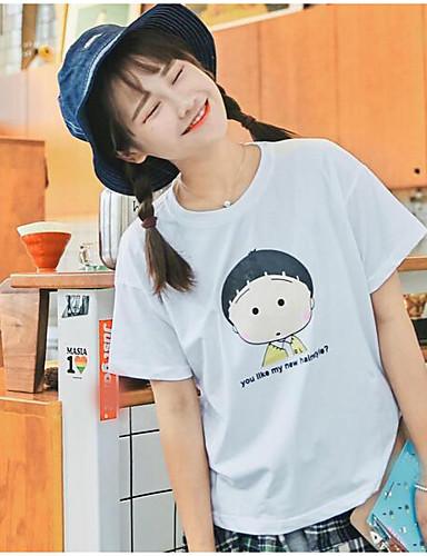 Damen Druck Niedlich Ausgehen T-shirt,Rundhalsausschnitt Kurzarm Baumwolle