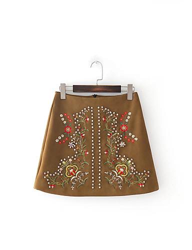 Damen Niedlich Street Schick Ausgehen Lässig/Alltäglich Mini Röcke A-Linie Bodycon,Baumwolle Solide Druck Frühling Sommer Herbst