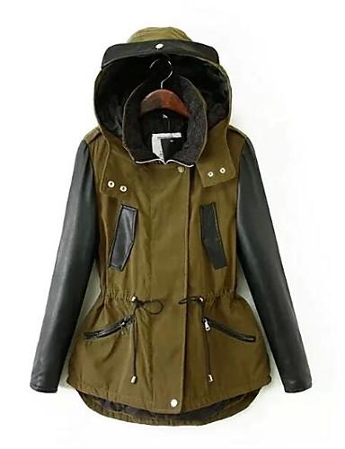 Damen Gefüttert Mantel Einfach Lässig/Alltäglich Einfarbig-PU Baumwolle Baumwolle Langarm