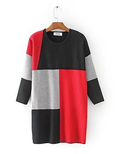 Damen Lang Pullover-Ausgehen Lässig/Alltäglich Einfach Niedlich Einfarbig Rundhalsausschnitt Langarm Baumwolle Polyester Frühling Herbst