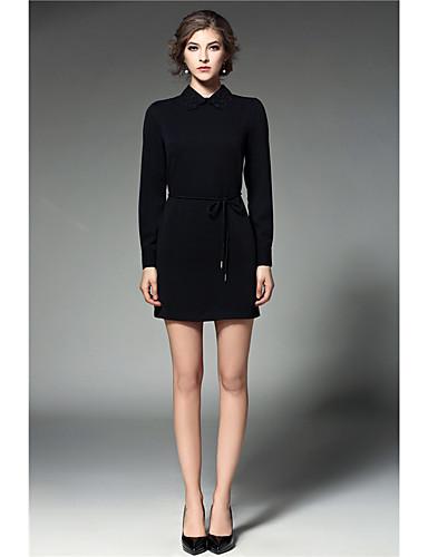 Women's Sheath Dress - Solid Colored / Print Shirt Collar