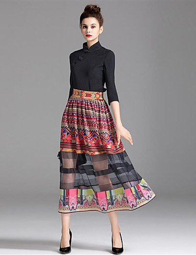 ZIYI Women's A Line Skirts - Color Block, Print
