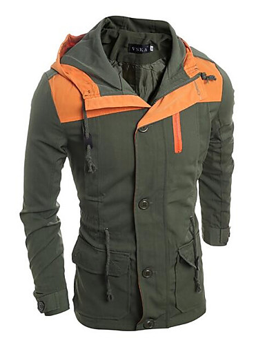 Herren Solide Einfarbig Einfach Lässig/Alltäglich Jacke,Mit Kapuze Herbst Winter Langärmelige Standard Polyester