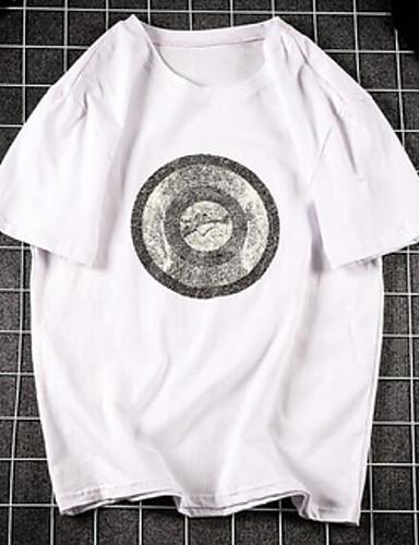 Herren Druck Einfach Ausgehen Lässig/Alltäglich T-shirt,Rundhalsausschnitt Kurzarm Baumwolle