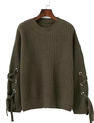 Damen Standard Pullover-Ausgehen Lässig/Alltäglich Street Schick Solide Rundhalsausschnitt Langarm Baumwolle Elasthan Herbst Mittel