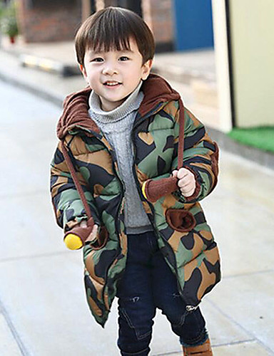 Boys' Print Patchwork Down & Cotton Padded,Polyester Winter Fall Long Sleeve Army Green