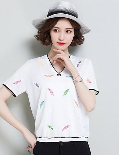 Damen Standard Pullover-Lässig/Alltäglich Solide Druck V-Ausschnitt Kurzarm Leinen Andere Sommer Dünn Mikro-elastisch