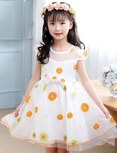 Mädchen Kleid Blumen Polyester Sommer Lange Ärmel