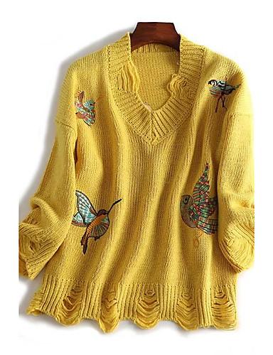 Damen Standard Pullover-Ausgehen Lässig/Alltäglich Einfach Druck V-Ausschnitt Langarm Wolle Baumwolle Polyester Frühling Herbst Dünn