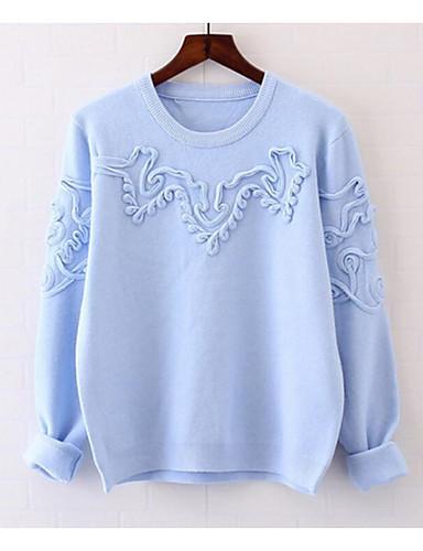 Damen Standard Pullover-Lässig/Alltäglich Solide Rundhalsausschnitt Langarm Baumwolle Herbst Winter Mittel Mikro-elastisch