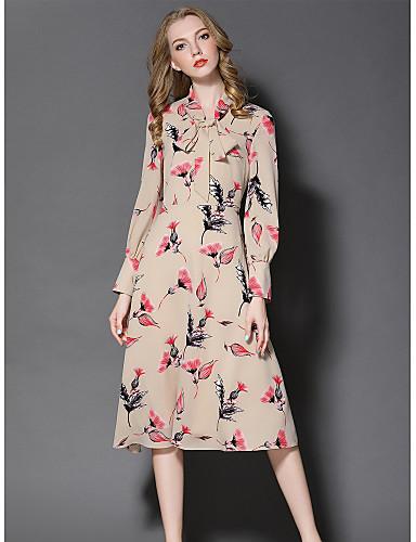 Damen Hülle Kleid-Ausgehen Niedlich Druck Ständer Midi Langarm Polyester Herbst Mittlere Hüfthöhe Mikro-elastisch Mittel