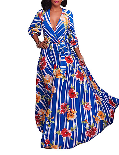 Damen Party Klub Festtage Retro Sexy Boho Hülle Swing Maxi Kleid,Gerüscht Gestreift Blumen V-Ausschnitt Langarm Hohe Hüfthöhe Frühling