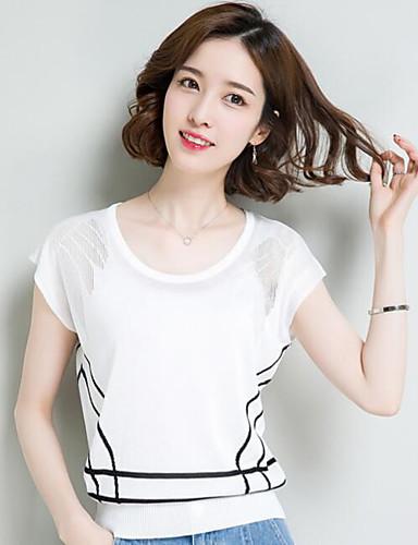Damen Kurz Pullover-Lässig/Alltäglich Solide Druck Rundhalsausschnitt Kurzarm Baumwolle Andere Sommer Dünn Mikro-elastisch