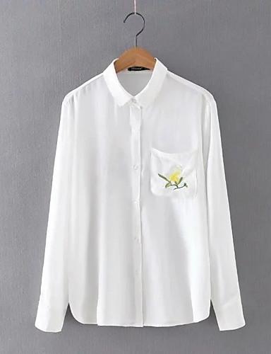 Damen Solide Stickerei Einfach Niedlich Street Schick Ausgehen Lässig/Alltäglich Hemd,Hemdkragen Frühling Herbst Langarm Baumwolle Leinen