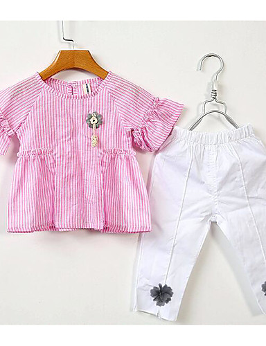 Mädchen Sets Streifen Baumwolle Sommer Kleidungs Set