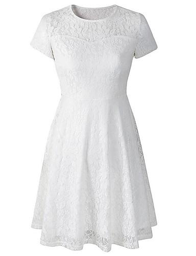 Pentru femei Mărime Plus Size Ieșire Sofisticat Bumbac Linie A Rochie - Dantelă, Culoare solidă Sub Genunchi Albastru