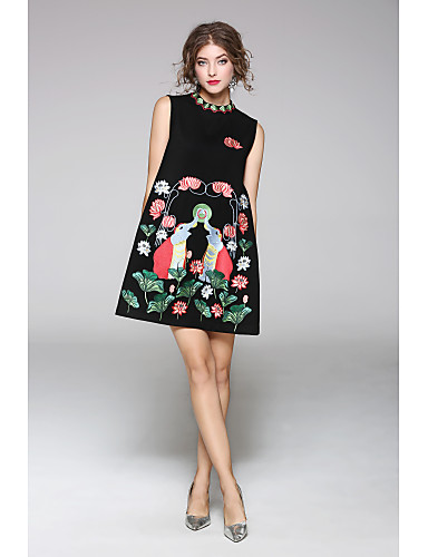 JOJO HANS Women's Classic & Timeless Sheath Dress - Solid Colored, Print