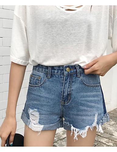 Damen Einfach Hohe Hüfthöhe Mikro-elastisch Jeans Kurze Hosen Gerade Hose Solide