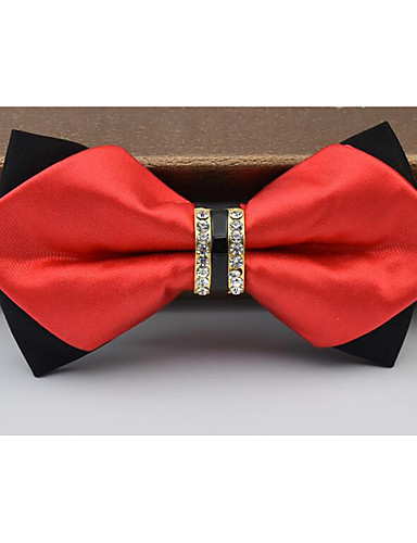 fa303047dcd4 Men's Polyester Bow Tie, Other Solid Black Silver Red Navy Blue Wine ...